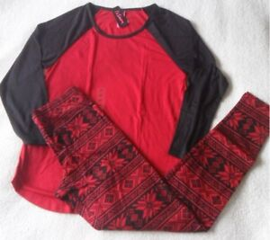 LA SENZA BLACK FAIRISLE SKINNY FIT RAGLAN TEE   LEGGINGS PJ PYJAMAS ... e1a409dc5