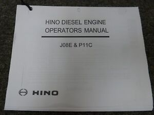 Hino Models Jo8e  U0026 P11c Diesel Engine Owner Operator
