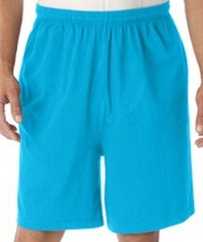 Men's Jersey Knit Activewear Long Jam Drawstring Shorts 3 Pocket Electric Blue