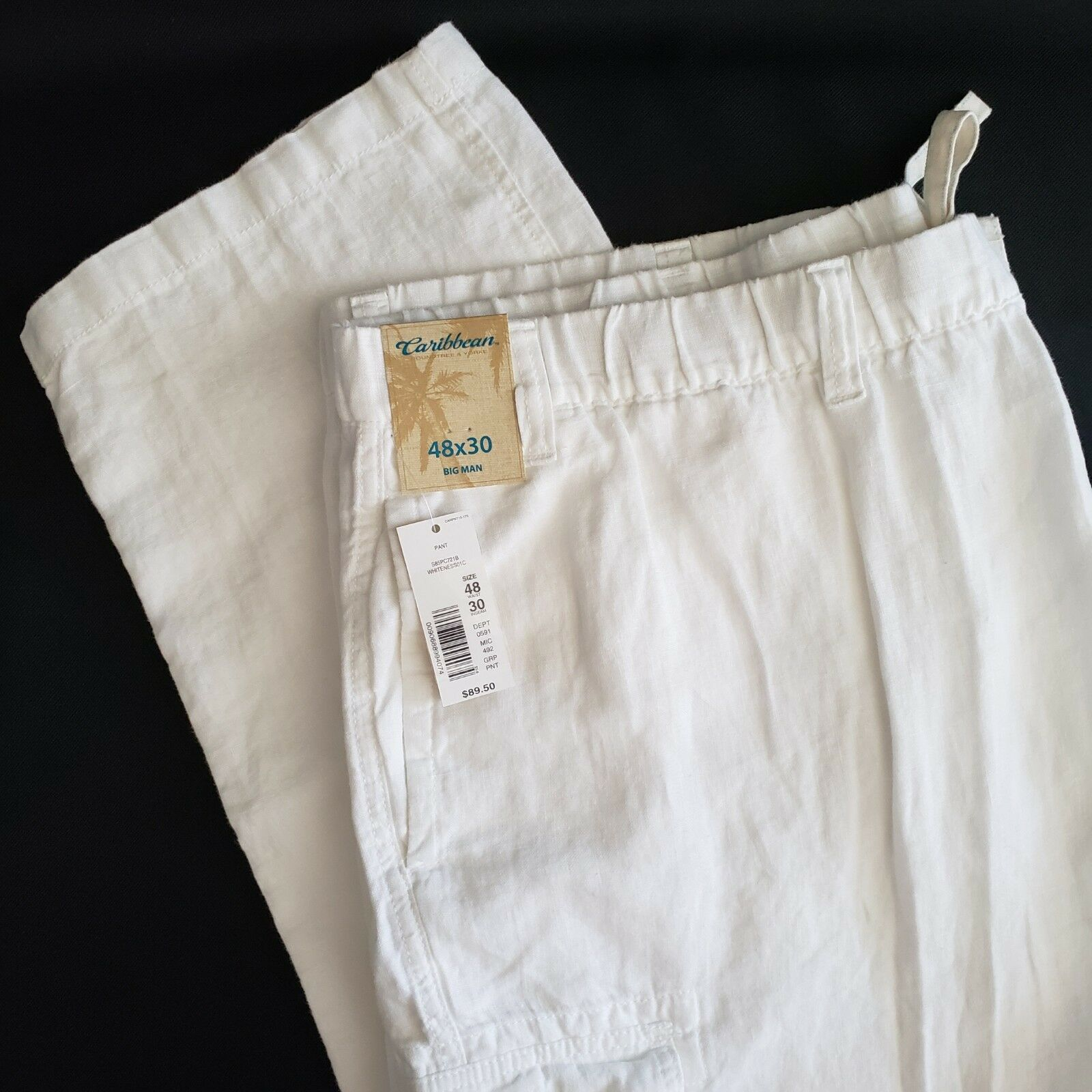 Caribbean White Linen Cargo Pants Tag 48 x 30 Actual 45 x 29 Roundtree Yorke New