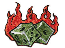 A1136 Aufnäher Patch Rockabilly Old School Tattoo Würfel Flammen Hot Rod Flame