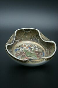 19TH-MEIJI-JAPANESE-SATSUMA-BOWL-CERAMIC-PORCELAIN-HANDPAINTED-SIGNED