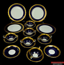 18 pc Aynsley China Set Scalloped Buckingham Blue & Gold Dinner Plate Soup Bowl