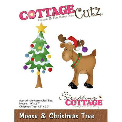 Christmas Tree /& Moose Die Craft Steel Die Cutting Dies Cottage Cutz CC-503 New