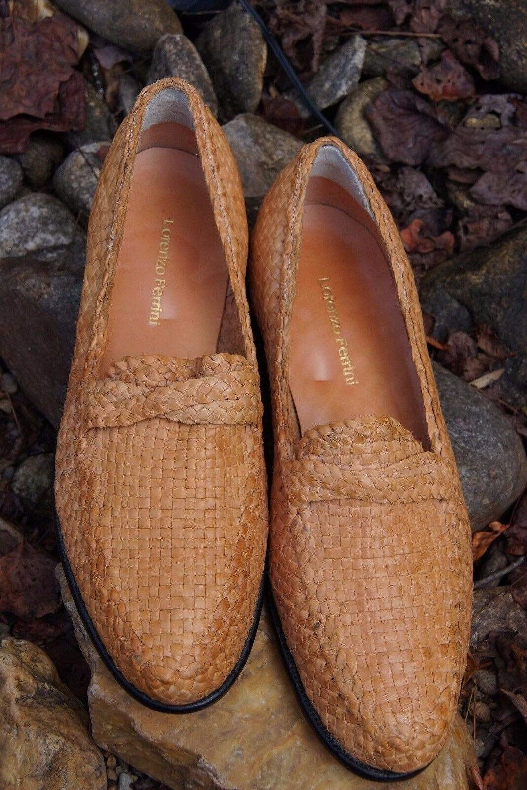 Lorenzo Ferrini Wheat color Fine Woven Leather Loafers, Slip-On shoes  Size 11