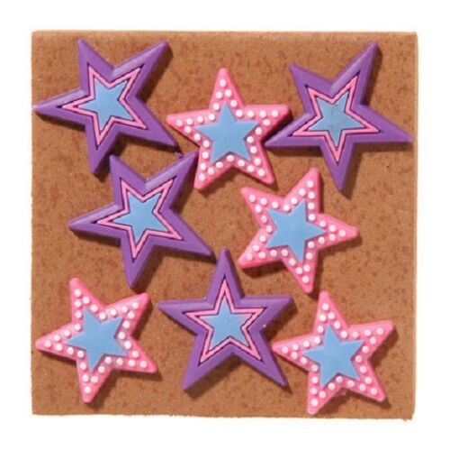 Push Pins  16 pieces Stocking Party Bag Stuffers Gifts PURPLE PINK STARS  B175
