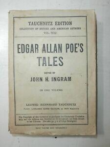 Rarissimo antico libro Tales of Edgar Allan Poe 1st Tauchnitz Edition 1884