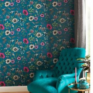 Image Is Loading Botanical Songbird Wallpaper Teal Arthouse 676001 Feature Wall