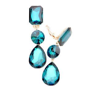 Neu Lange Feine Ohrclips Clips Clip Ohrringe Gold mit Kristall Klar 12 cm Lang