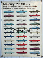 Ford Poster 1968/68 Mercury Cyclone/Montego/Cougar XR7/GT-E 427/Marquis/Monterey