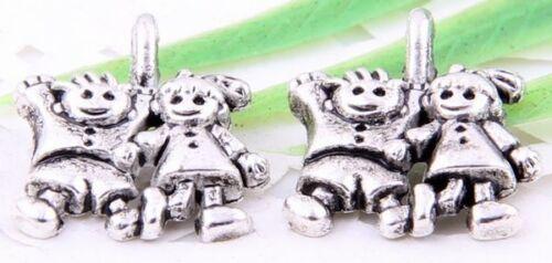 Wholesale 40//90Pcs Tibetan Silver (Lead-Free)Boy And Girl Charms 13x12mm
