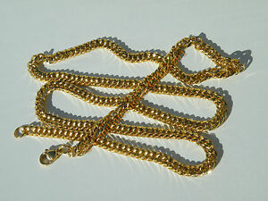 Chaine-Collier-71-cm-Maille-Fantaisie-Gourmette-Or-Pur-Acier-Inoxydable-5-5-mm