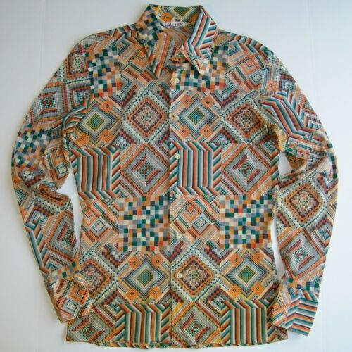 Vintage 1970s NIK-NIK Mens M NYLON DISCO SHIRT Sex