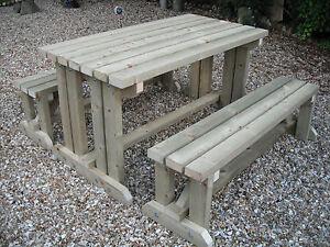 Wooden Walk In Picnic Table Bench Pub Garden Outdoor Pressure - Walk in picnic table