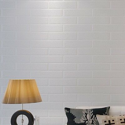 Home Decoration Brick Wallpapers White Grey Real Looking Deep Embossed Textured