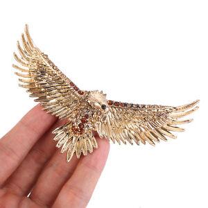 08f1e57ecdf Animal Bird Hawk Eagle Brooch Pin Topaz Austrian Crystal Antique ...