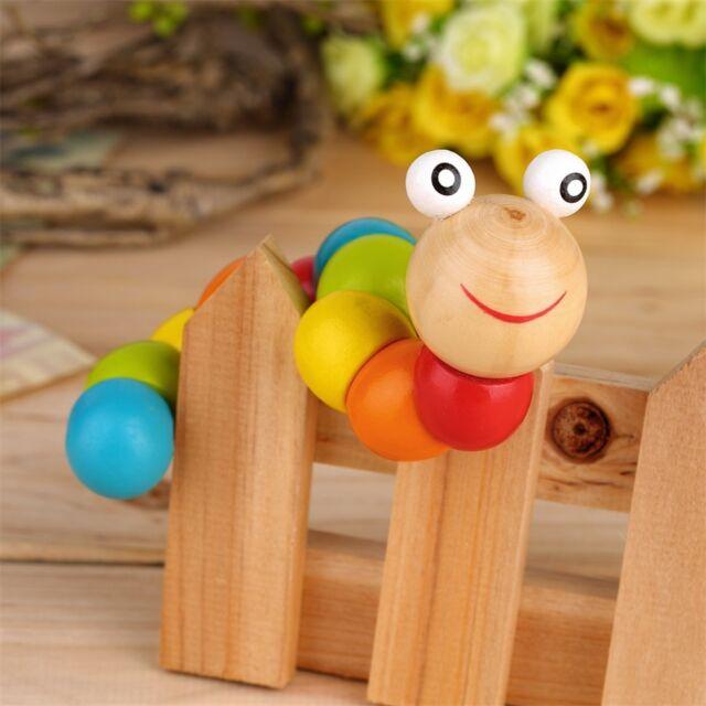 Wooden Twisty Wiggly Worm Multicolour Sensory Wood Bead Developmental Toy GT