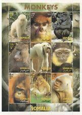 MONKEYS ANIMAL KINGDOM SOMALIA 2002 MNH STAMP SHEETLET