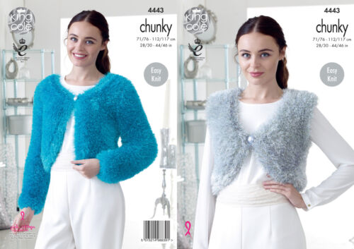 Mesdames guirlandes chunky tricot motif king cole easy knit v//round boléros 4443