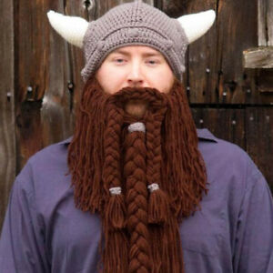 7d102ebf708 Men s Viking Horns Bearded Hat Barbarian Vagabond Beanie Foldaway ...
