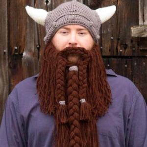 8ebdcb09 Details about Men's Viking Horns Bearded Hat Barbarian Vagabond Beanie  Foldaway Mask Knit Caps