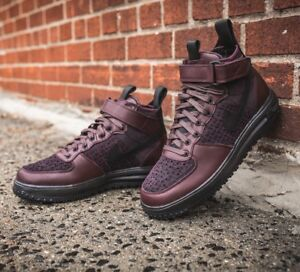 new products 42f9e 43c1c Image is loading Nike-Lunar-Force-1-Flyknit-Workboot-Deep-Burgundy-