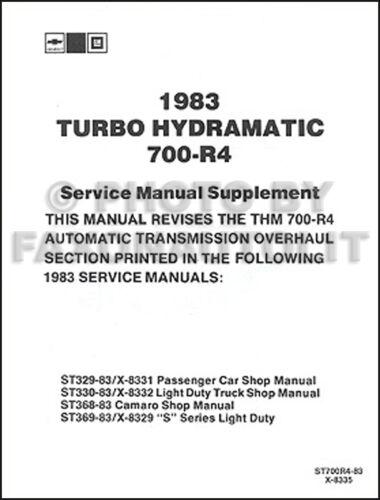 1983 Chevy Transmission Shop Manual El Camino Monte Carlo Impala Caprice Camaro