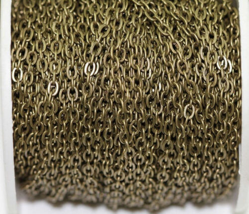 100M Gold//Silver Plated Cable Open Link Iron Metal Chain Jewelry Findings 3x4mm