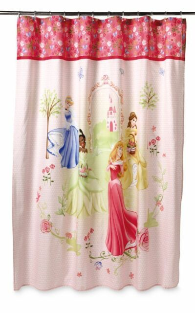 Disney Princess Shower Curtain 70x72 Pink Birds Flowers Butterflies