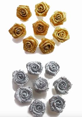 Gold Small Mini Ruban de Satin Rose Bourgeons FLEURS embellissement 10 20 30 Pk 1.5 cm