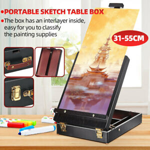 Black-Portable-Artist-Wood-Table-Top-Desk-Painting-Easel-Sketch-Box-Drawing-Art