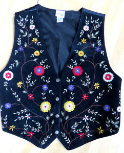 WESTERN-RANCH-COWGIRL-BLACK-SUEDE-FLORAL-EMBROIDERED-VEST-L-by-BEDFORD-FAIR