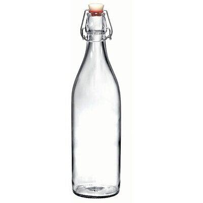 Bormioli Rocco Giara Clear Glass Bottle With Stopper, 33 3/4 oz., New