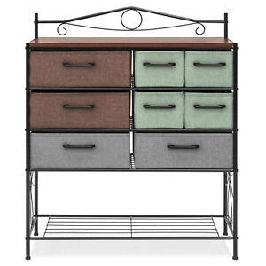 Details About 8 Drawer Wood Metal Storage Cabinet Dresser Chest Cabinet Living Room Furniture