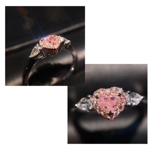 Anillo de mujer en plata zierkonia en rosa pedrería brillo corazón anillo de compromiso