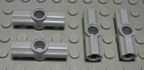 2012 Lego Technic Verbinder 2x Kreuzloch 1x Steck Pin Loch new Grau 4 Stück