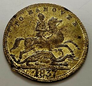 1837 English Old Brass Coin Gold Lustre Horse To Hanover Unknown St George Saint