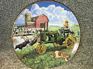 Image is loading DAYS-OF-SPLENDOR-Porcelain-Plate-FARMLAND-MEMORIES-John- & DAYS OF SPLENDOR Porcelain Plate FARMLAND MEMORIES John Deere Farm ...
