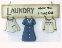 """8x5"""" Wood Mom's LAUNDRY WHERE MOM HANGS OUT Sign  Room Country Primitive Decor"""