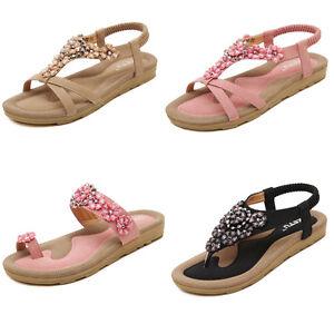 7e387ada6d5a Ladies Flat Toe Post Shoes Flip on Flops Ladies Flower Boho Thong ...