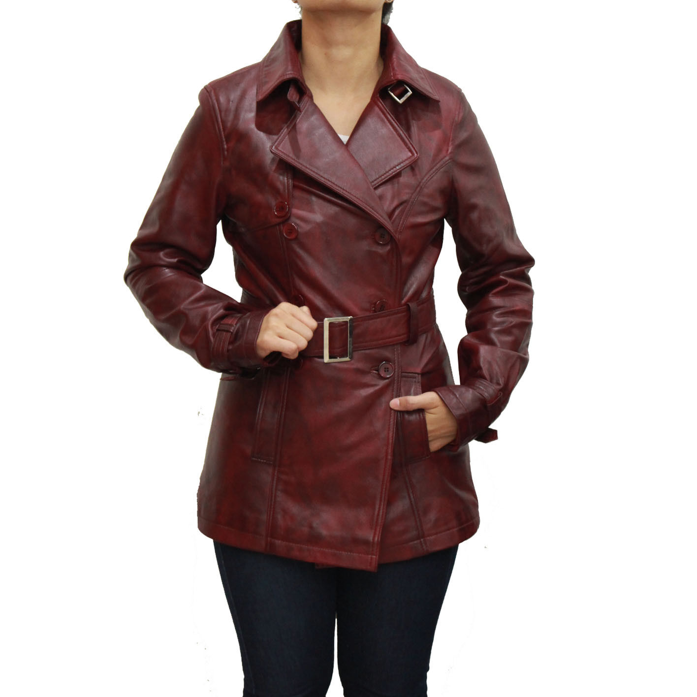 Ladies Burgundy Red Classic Double Breasted Belted Long Sleeved Trench Coat