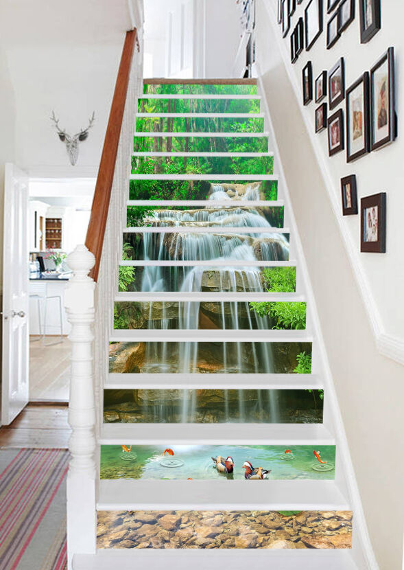 3D Forest Stream 21 Stair Risers Decoration Photo Mural Vinyl Decal Wallpaper AU