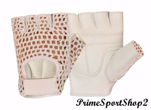 LEATHER MESH GYM WEIGHT TRAINING FITNESS POWER LIFTING CYCLING WHEELCHAIR GLOVES