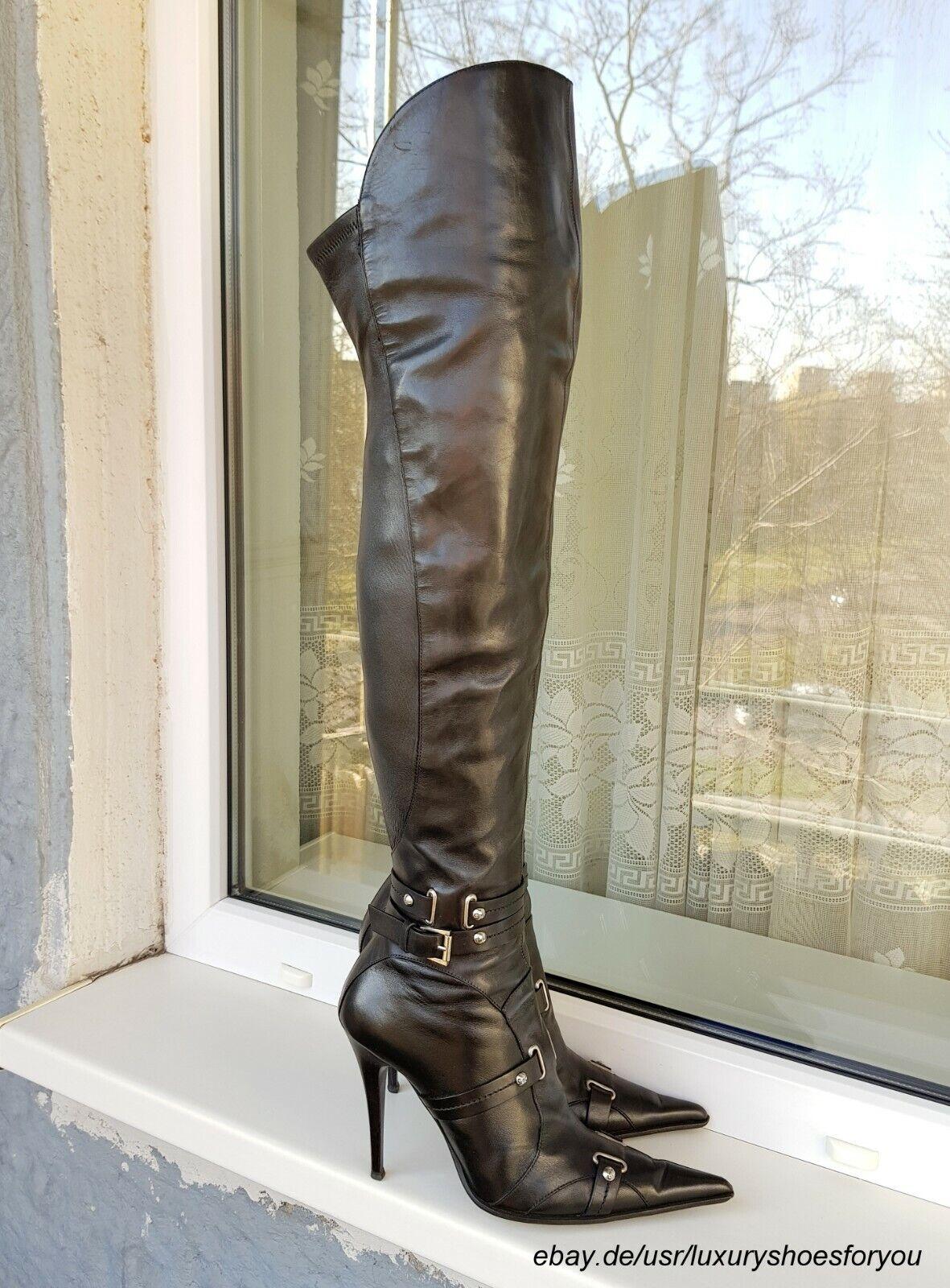Gianmarco Lorenzi negro Leather botas altas botas talla.