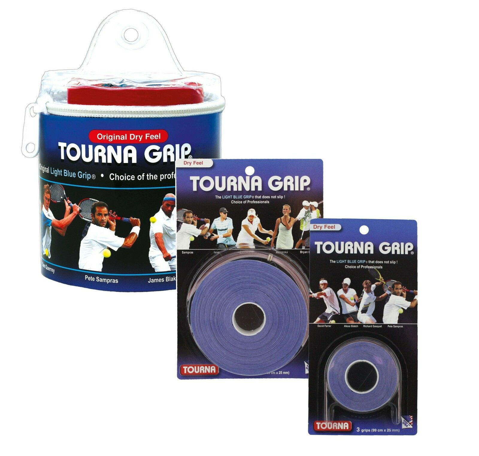 Tourna Grip Original Tennis Badminton Overgrip - bluee - Dry Feel
