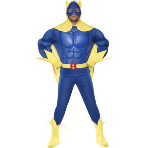 Men/'s EVA Chest Licensed Bananaman Costume Fancy Dress Cartoon Eric Superhero