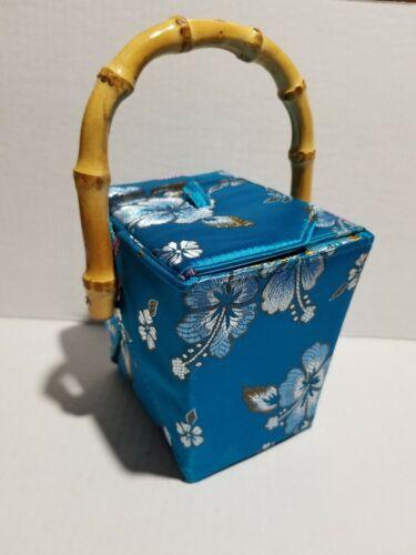 Tozai Chinese Take Out Purse Blue Handmade Bamboo