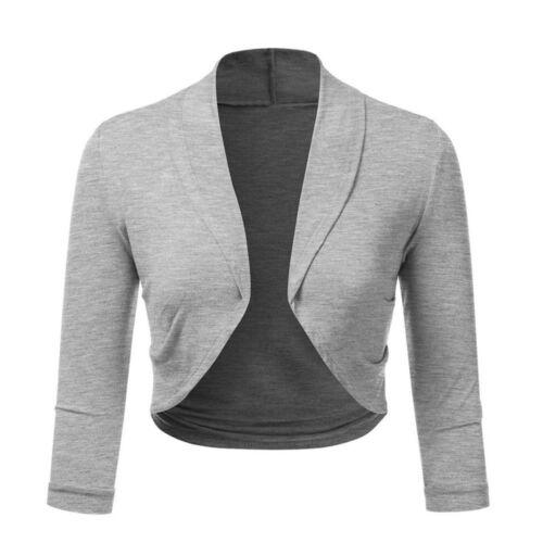 Women 3//4 Sleeve Solid Bolero Shrug Open Front Cropped Mini Office Work Cardigan