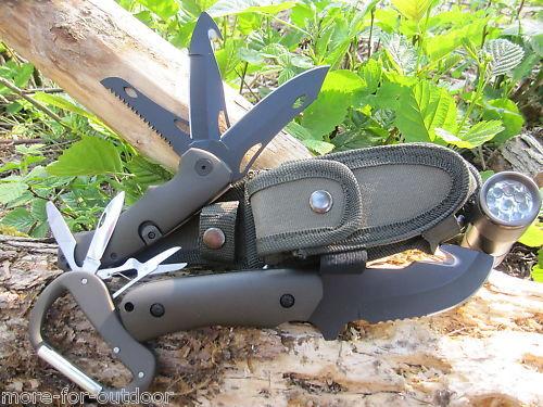 12 in 1  Messer + TASCHENLAMPE + KARABINER Messer Messer Messer Säge Multi Tool Taschenmesser  | Hohe Sicherheit  7ae3ab