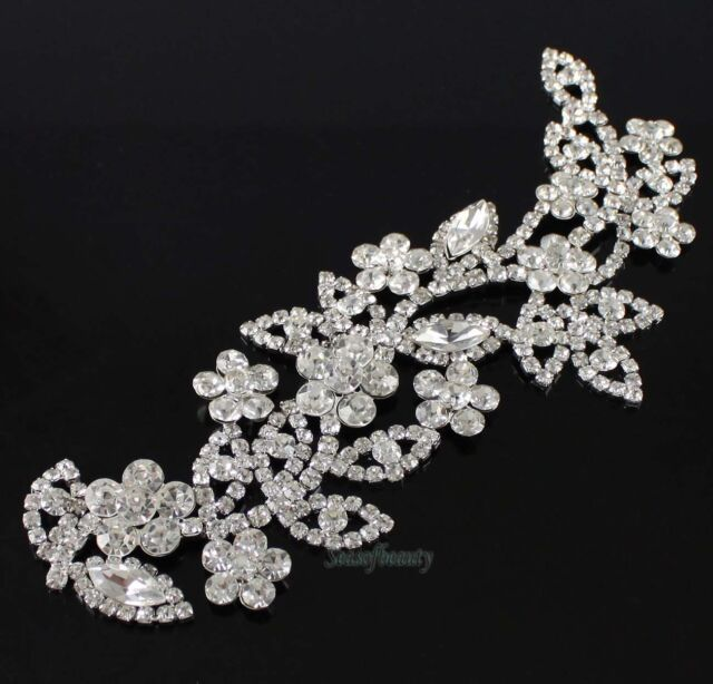 Beautiful Rhinestone Crystal Floral Bridal Dress Sew On Applique Motif Trims
